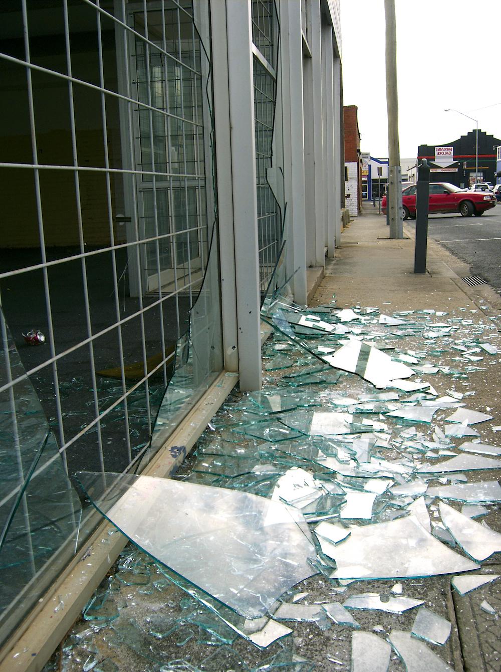 Broken shop window Film in Nashville